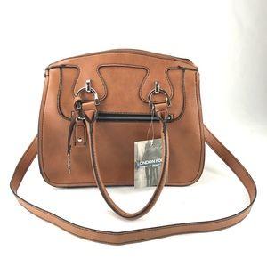 London Fog NEW Brown Leather Satchel Shoulder Bag